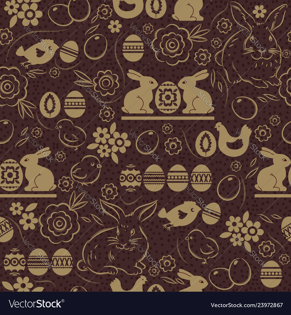 Seamless pattern with easter eggs rabbits