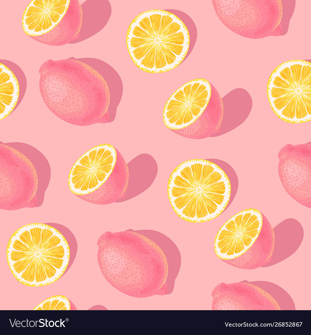 Seamless pattern with lemon slices and whole