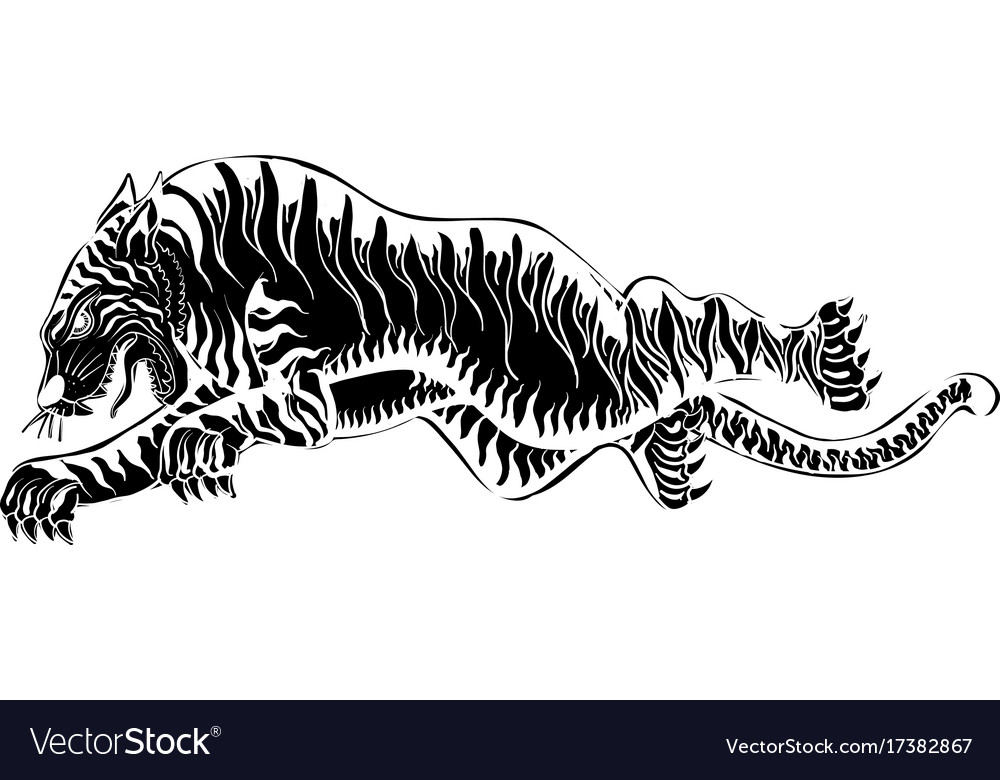 efc1f1379 Thai traditional tattoo tiger Royalty Free Vector Image