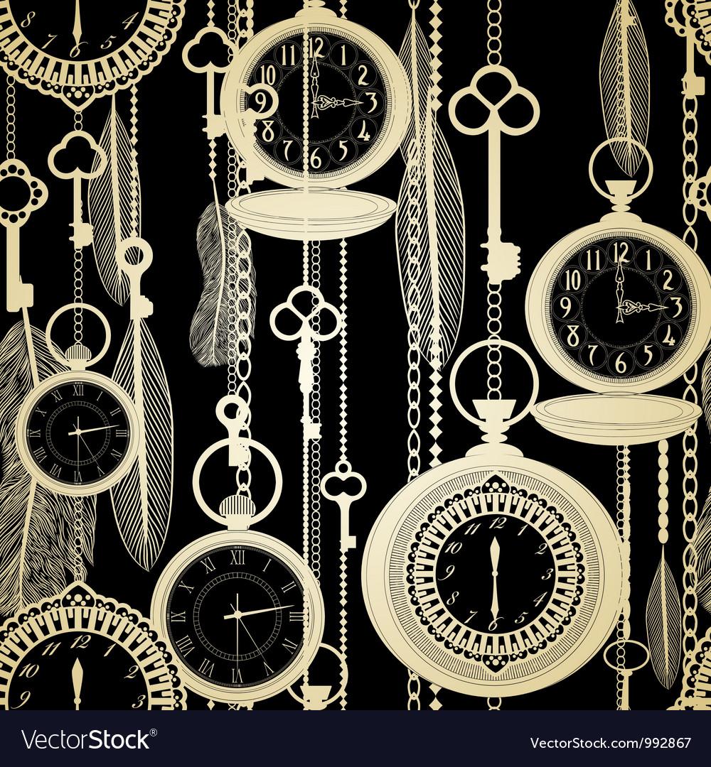 Vintage watches seamless pattern