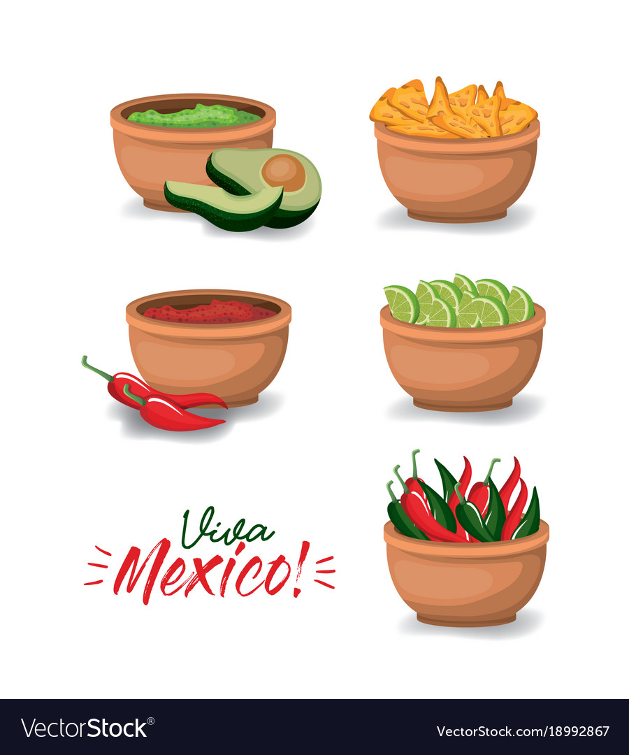 Viva mexico colorful poster with bowls of typical