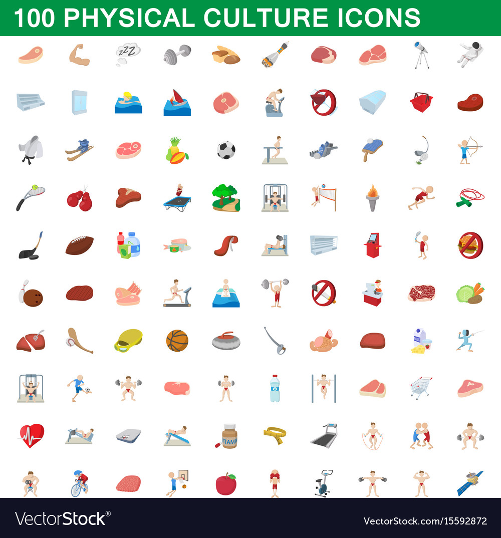 100 physical culture icons set cartoon style