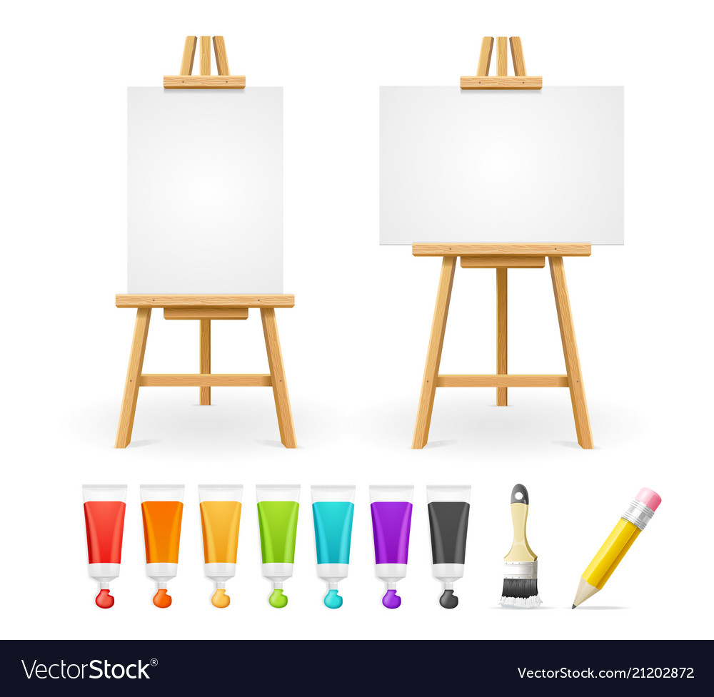 Board easel blank empty template and painting
