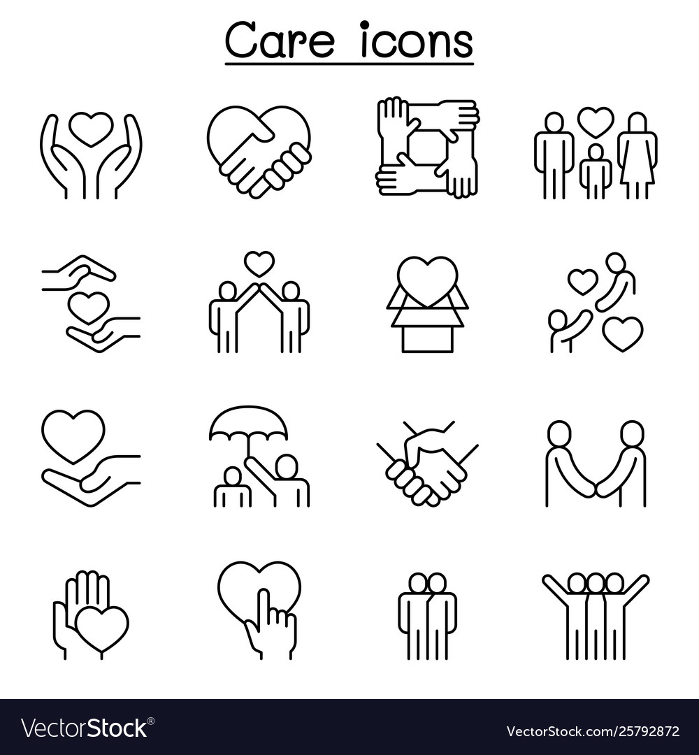 Care generous and sympathize icon set in thin