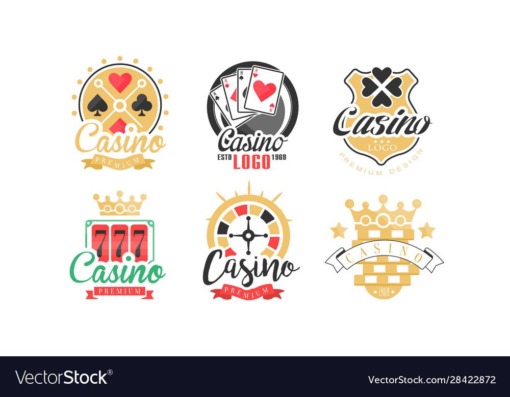Casino and card poker logo design set