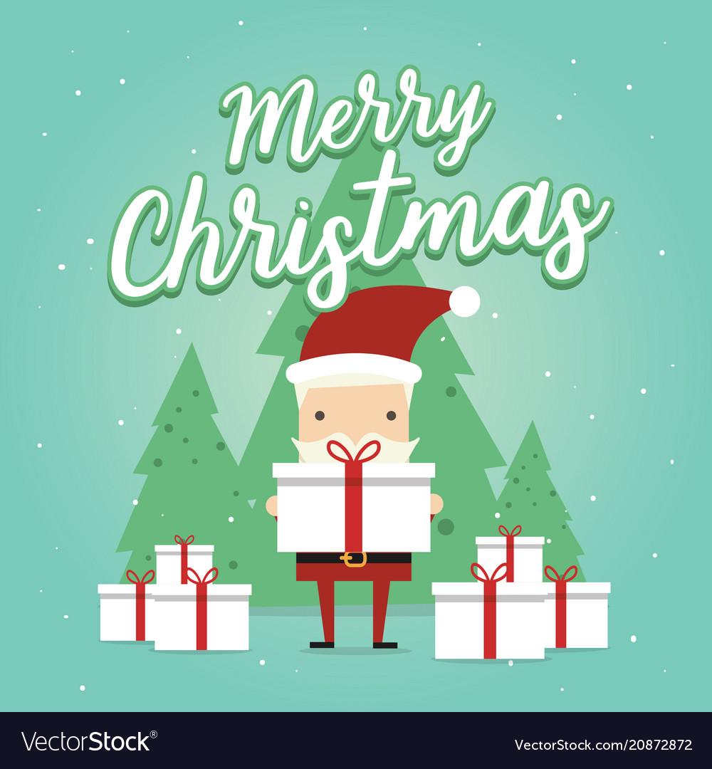 Christmas greeting card with christmas santa claus