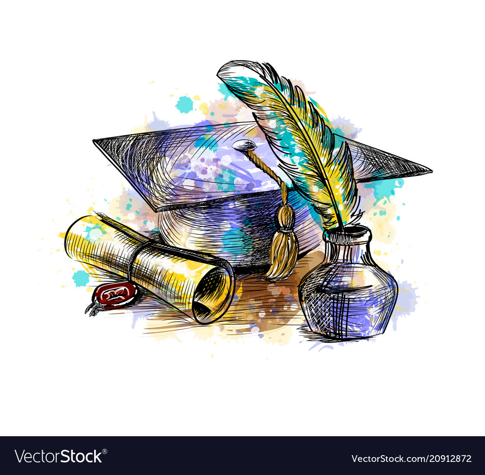 Diploma of graduation with a graduate cap and pen vector image
