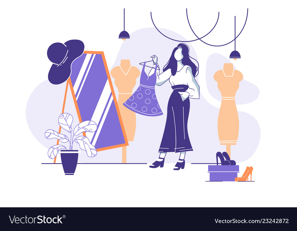 Flat young woman trying on clothes in front of