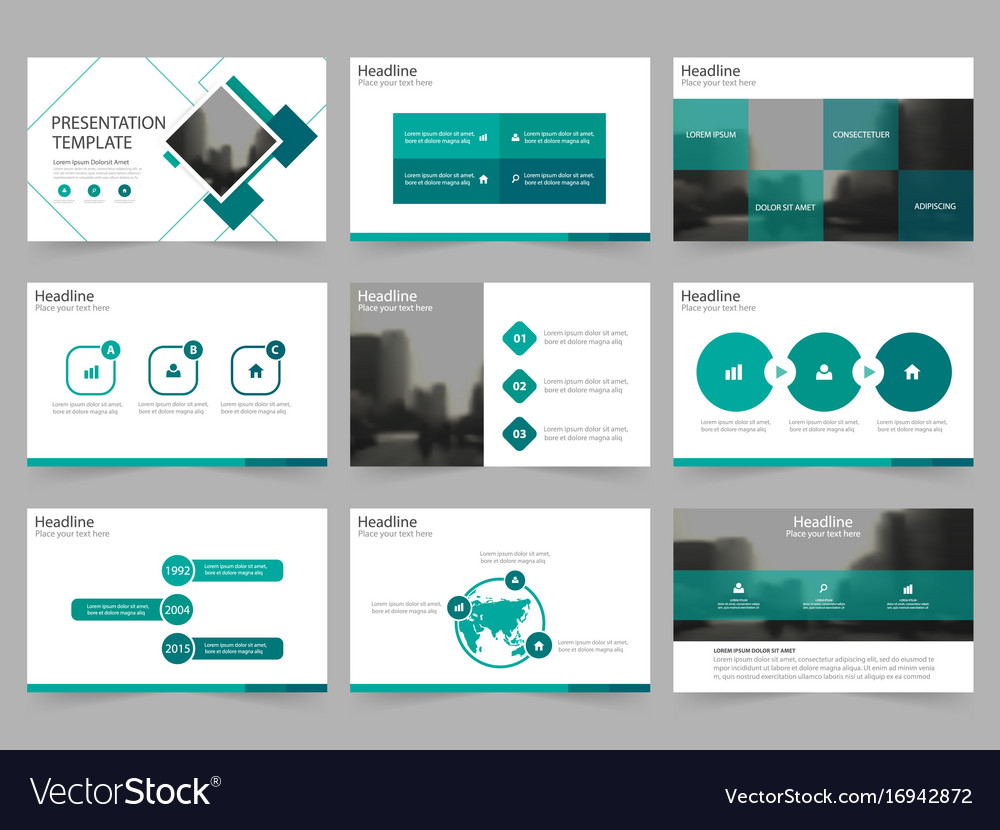 Green square abstract presentation templates