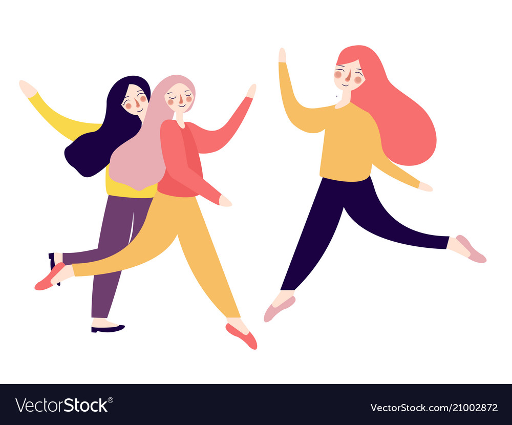Group of happy excited young women jumping bright