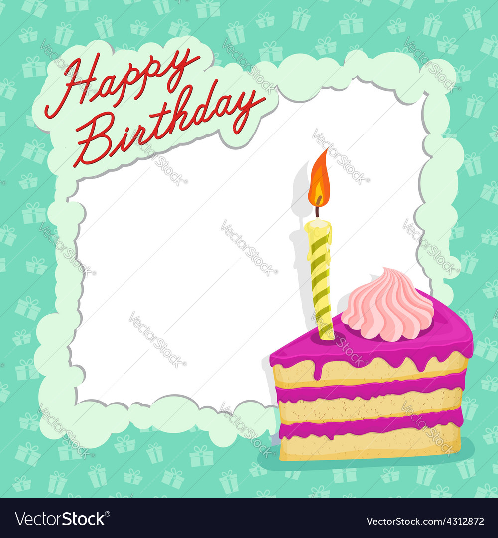 Happy Birthday Cake Card Royalty Free Vector Image
