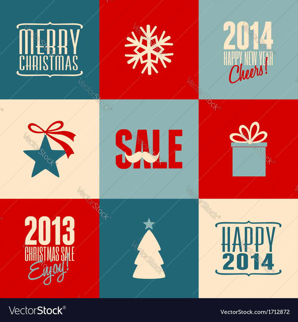 Retro design christmas cards set Royalty Free Vector Image
