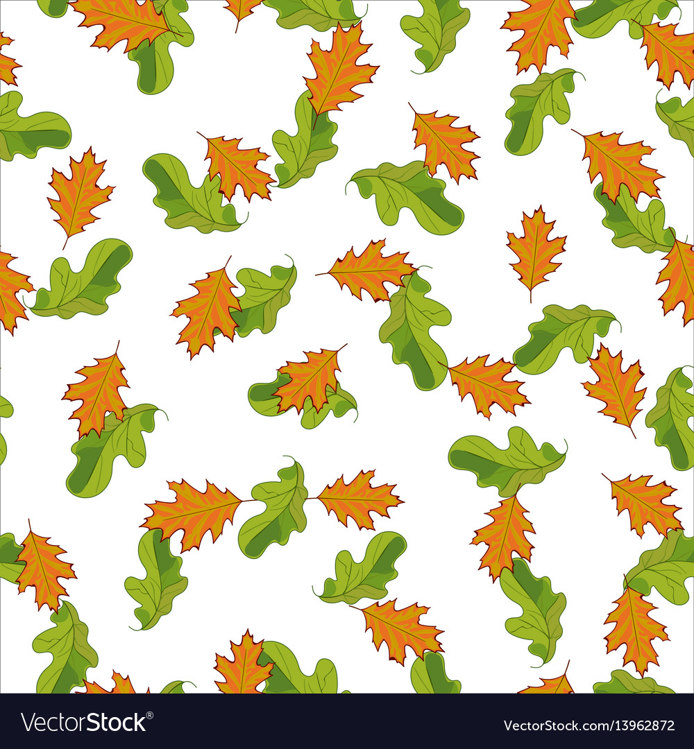 Seamless pattern with hand drawn green and orange