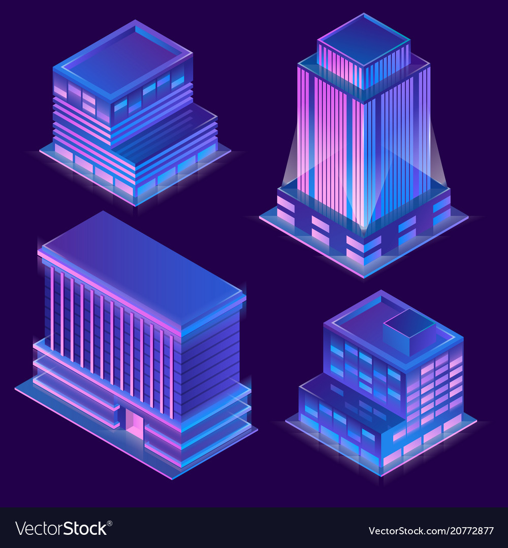 3d isometric buildings with neon