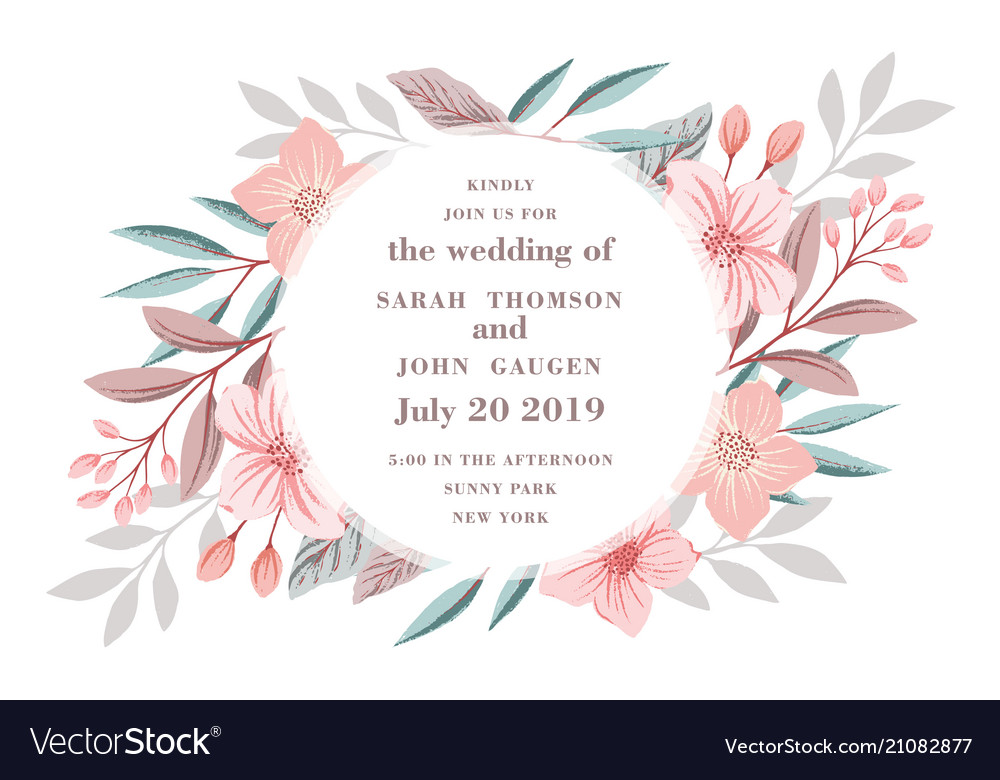 Beautiful drawing wreath invitation card for the