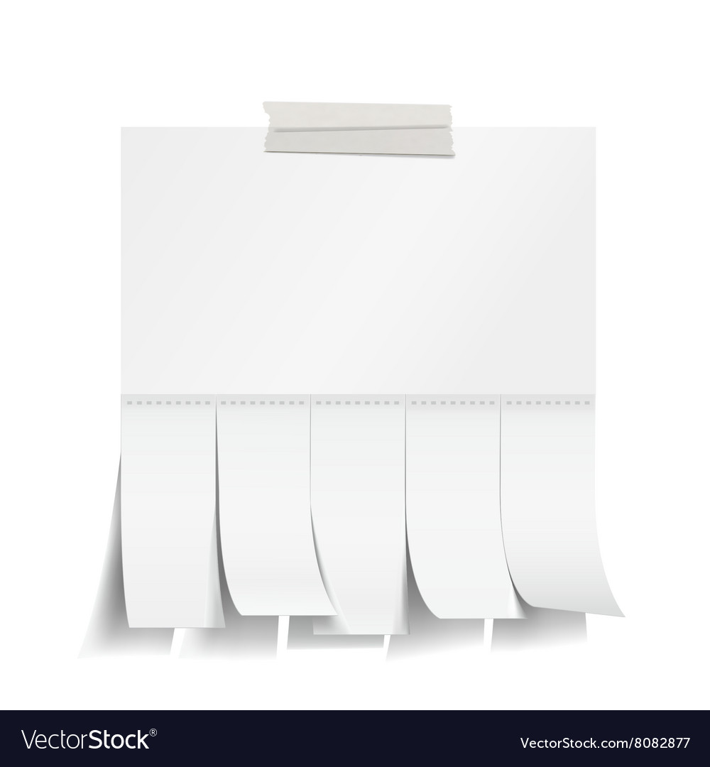 Blank white paper with tear off tabs Royalty Free Vector