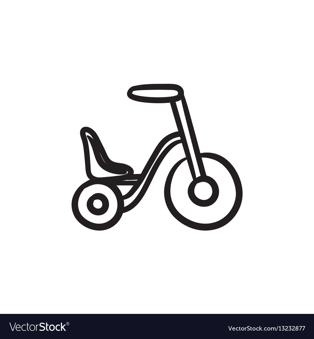 Child bike sketch icon