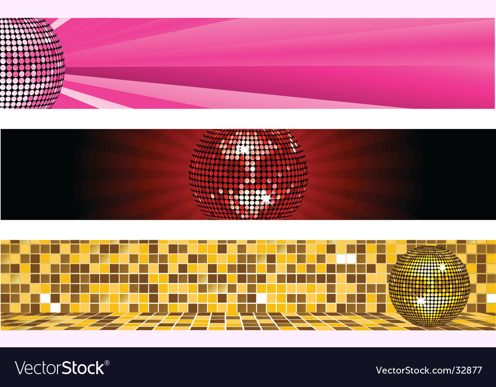 Disco ball banners vector image