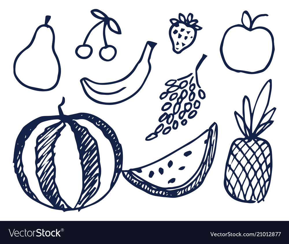 Fruits hand drawn elements