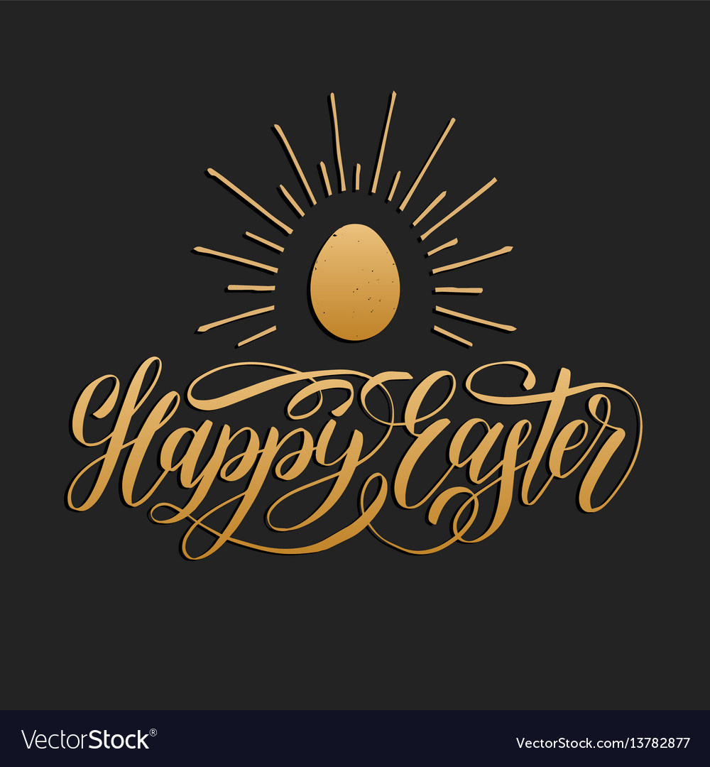 Happy easter hand lettering greeting card with egg