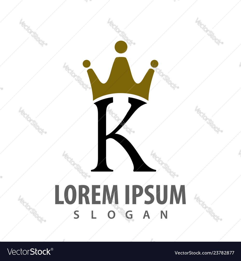 Initial letter k with crown logo concept design