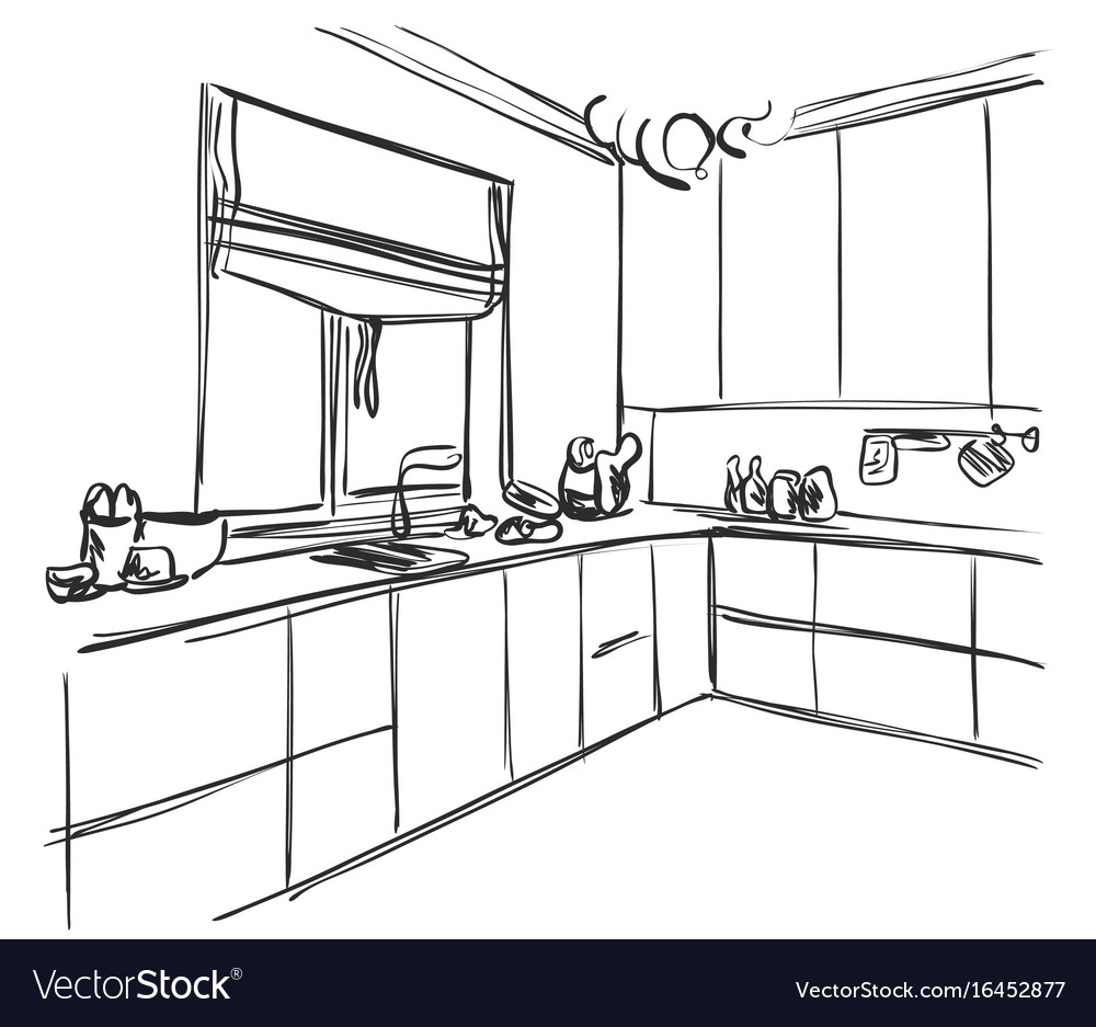 Kitchen Interior Sketch Home Furniture Royalty Free Vector