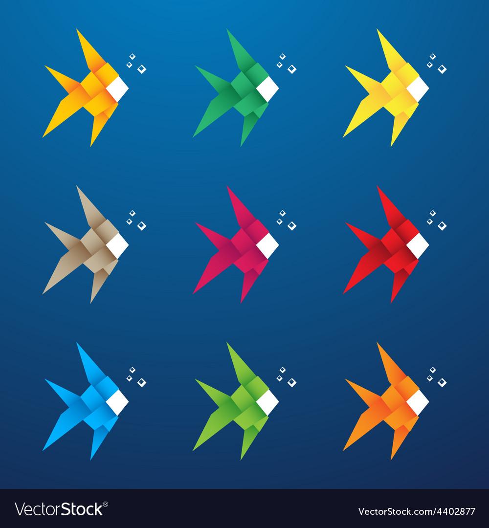 Multicolored origami fish