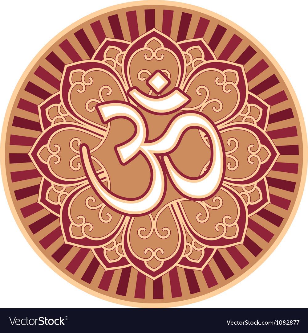 om aum symbol in flower rosette royalty free vector