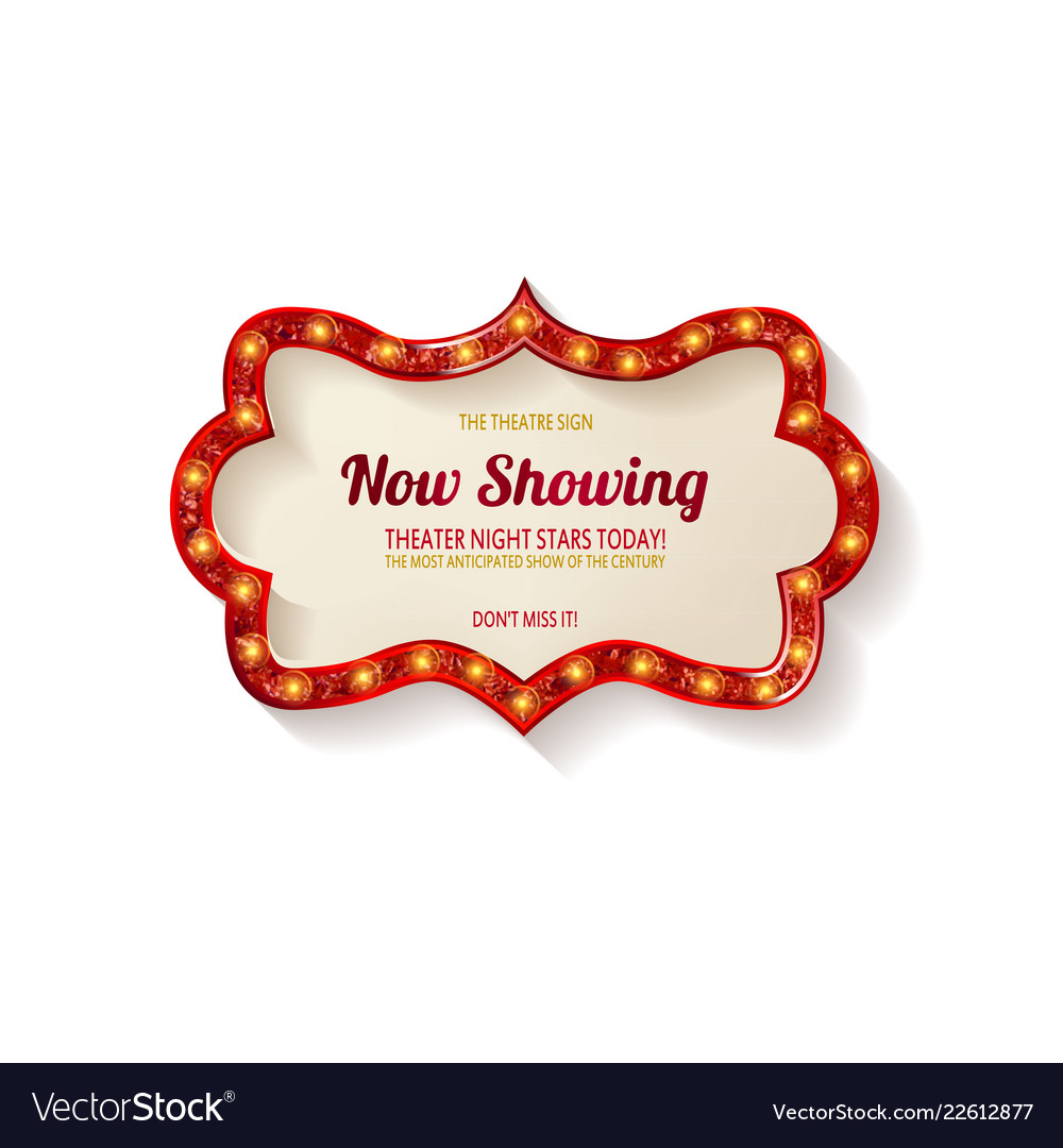 retro cinema bulb sign shape royalty free vector image