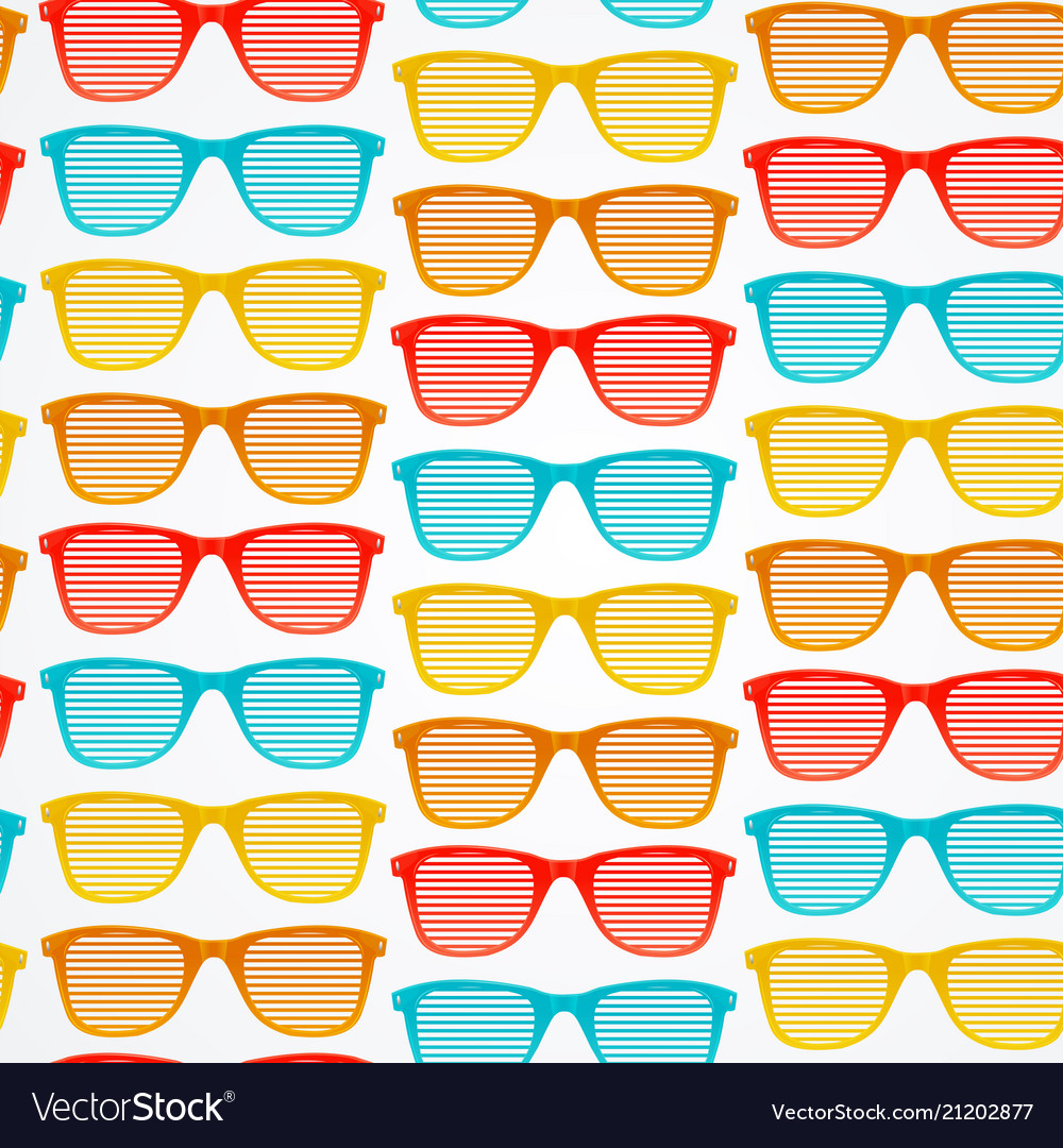 Retro striped sunglasses seamless pattern