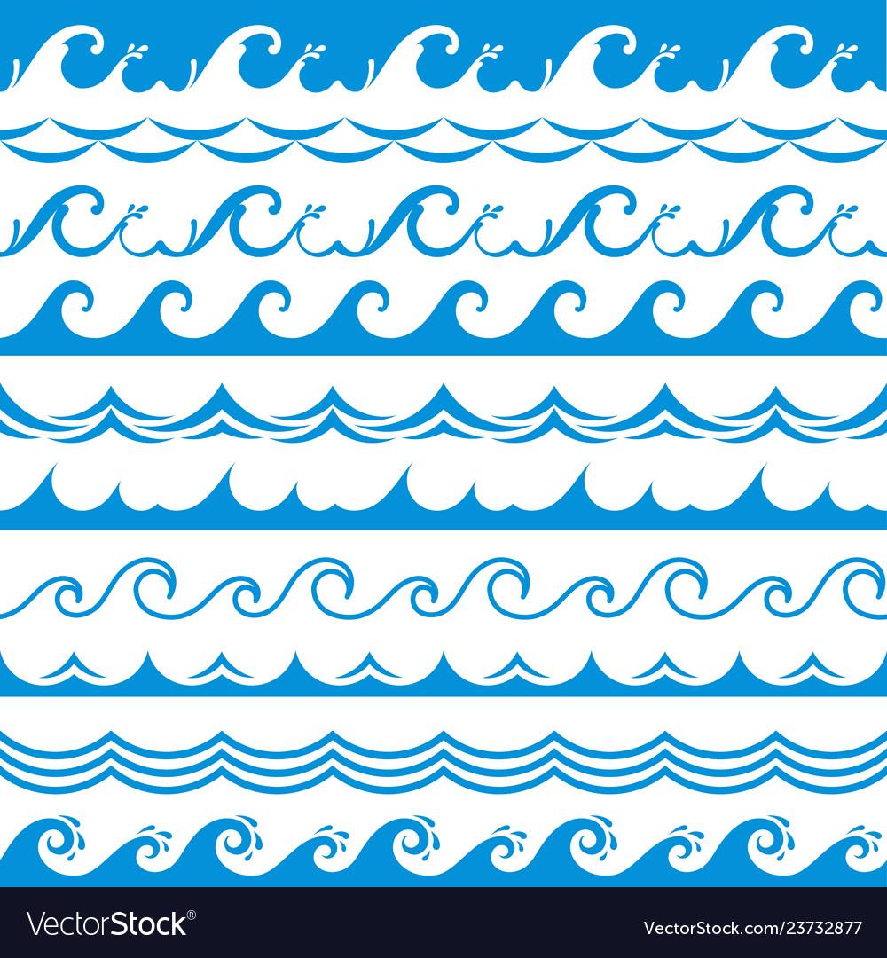 Sea wave frame seamless ocean storm tide waves