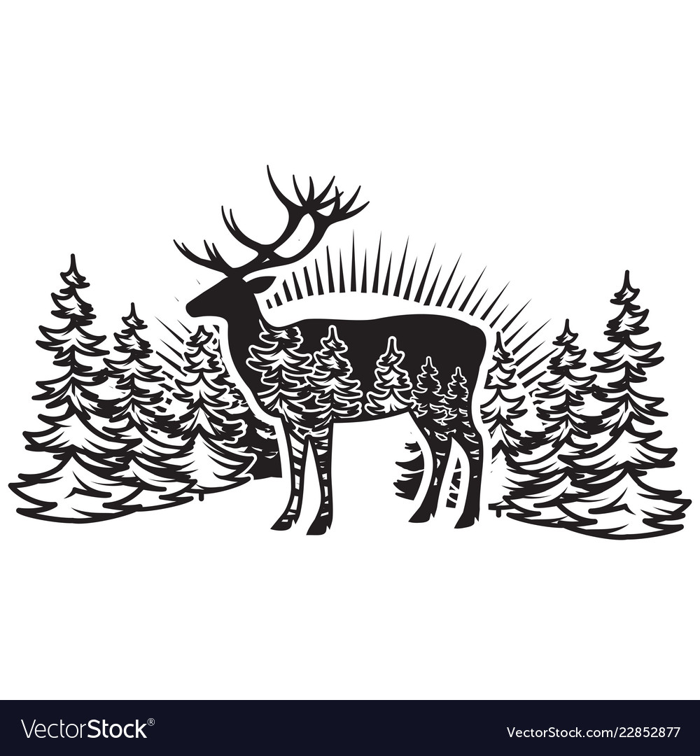 Stylized monochrome with deer and