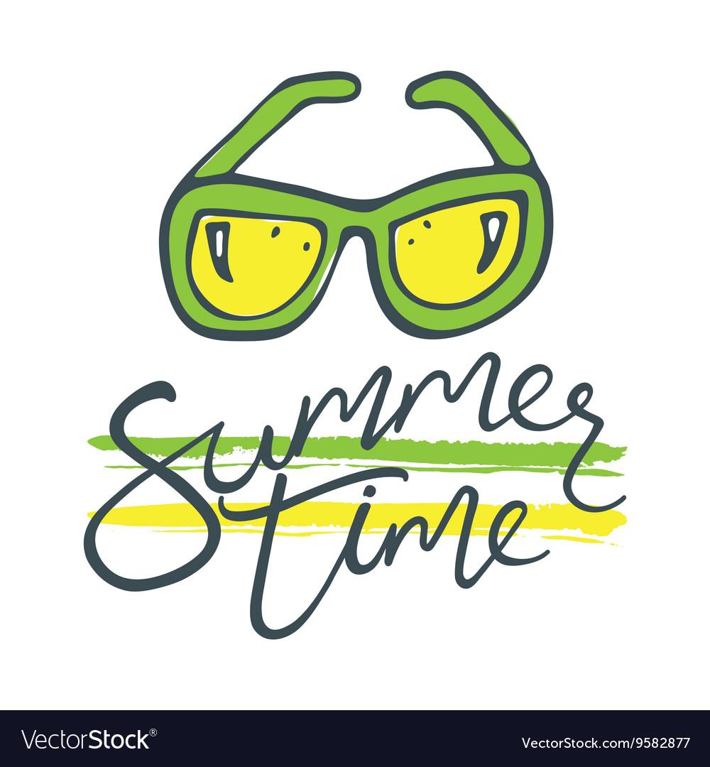 Summer time sunglasses green yellow