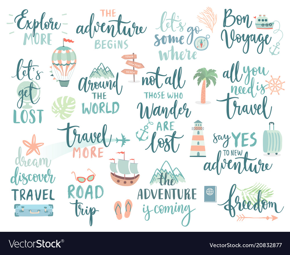 Travel lettering design set - collection of