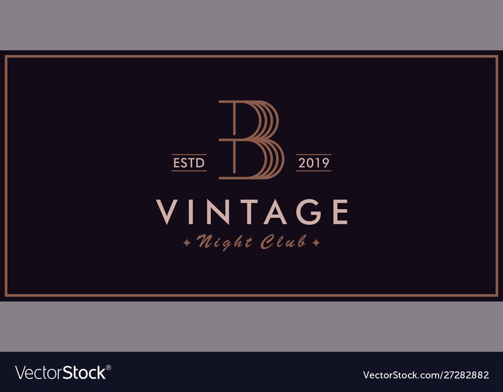 B vintage logo night club