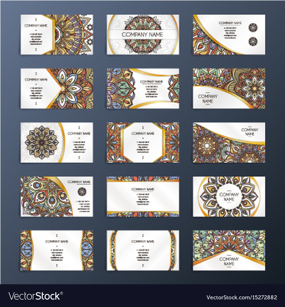 Banners or visit cards with mandala decoration on