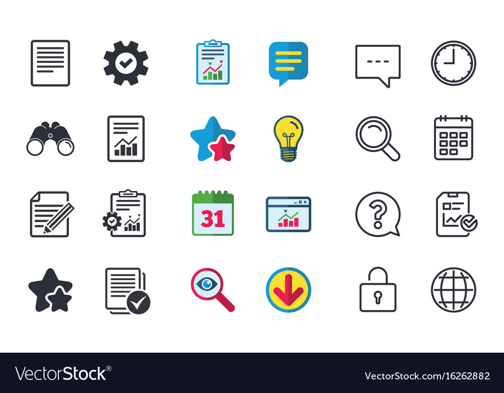 Document icons file with chart and checkbox