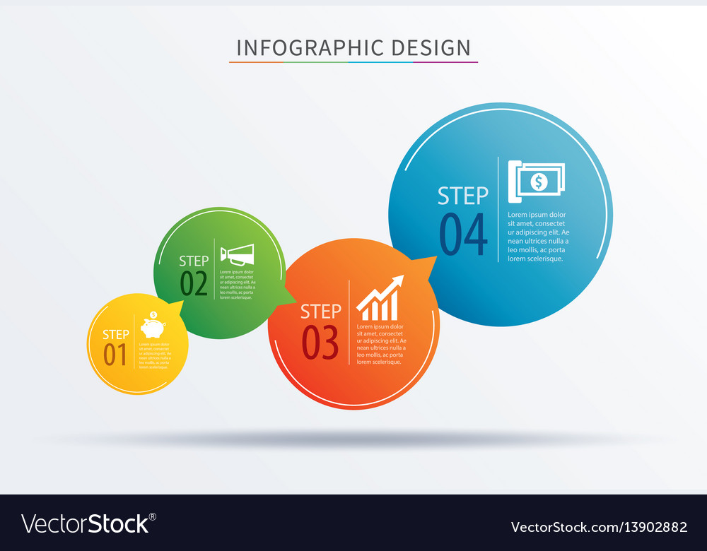 Infographics circle number 4 step template