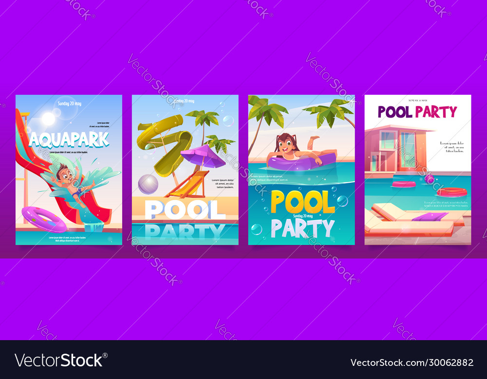 Kids aquapark pool party banners set invitation