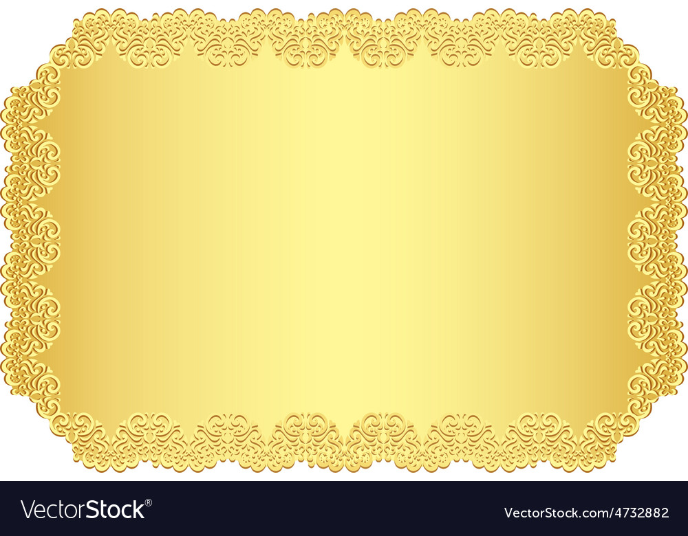 luxury golden invitation with lace border vector image