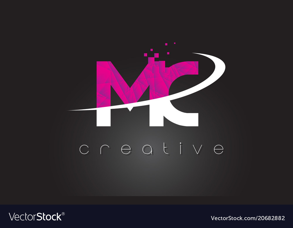 Mc m c creative letters design with white pink