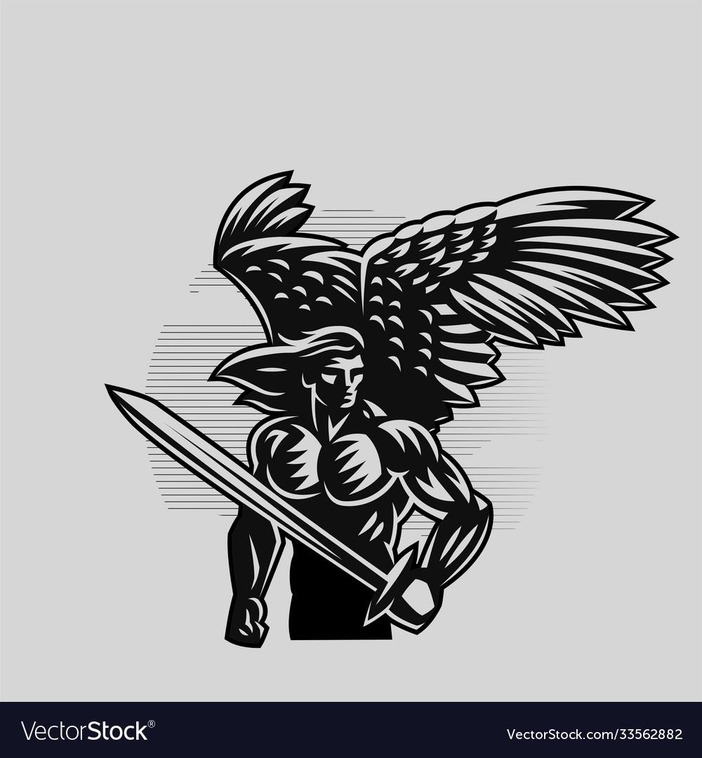 Muscular angel man