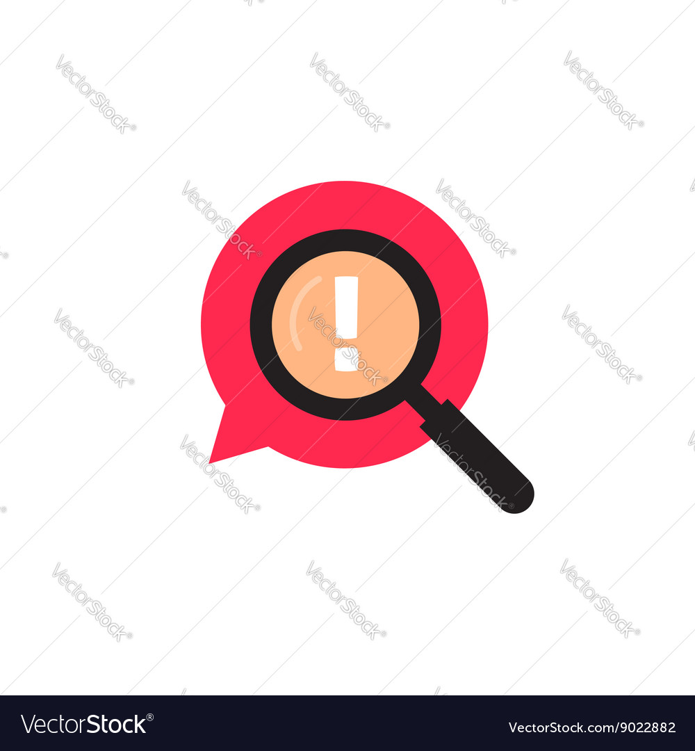 Red bubble speech with magnifying glass logo