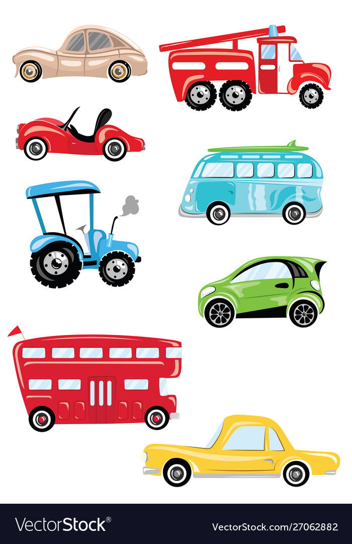 Set cartoon transport collection cars and