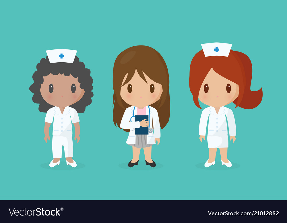 Set of cute medical staff cartoon characters vector image