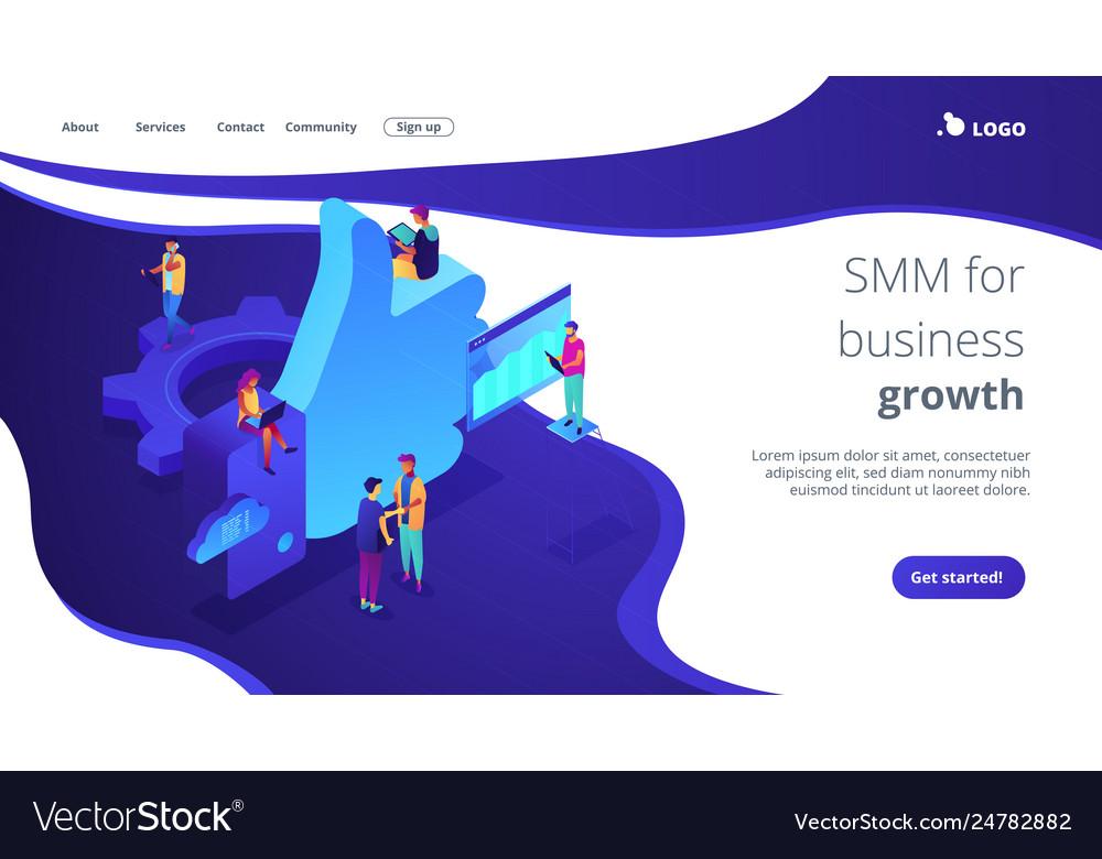 Social media marketing isometric 3d landing page