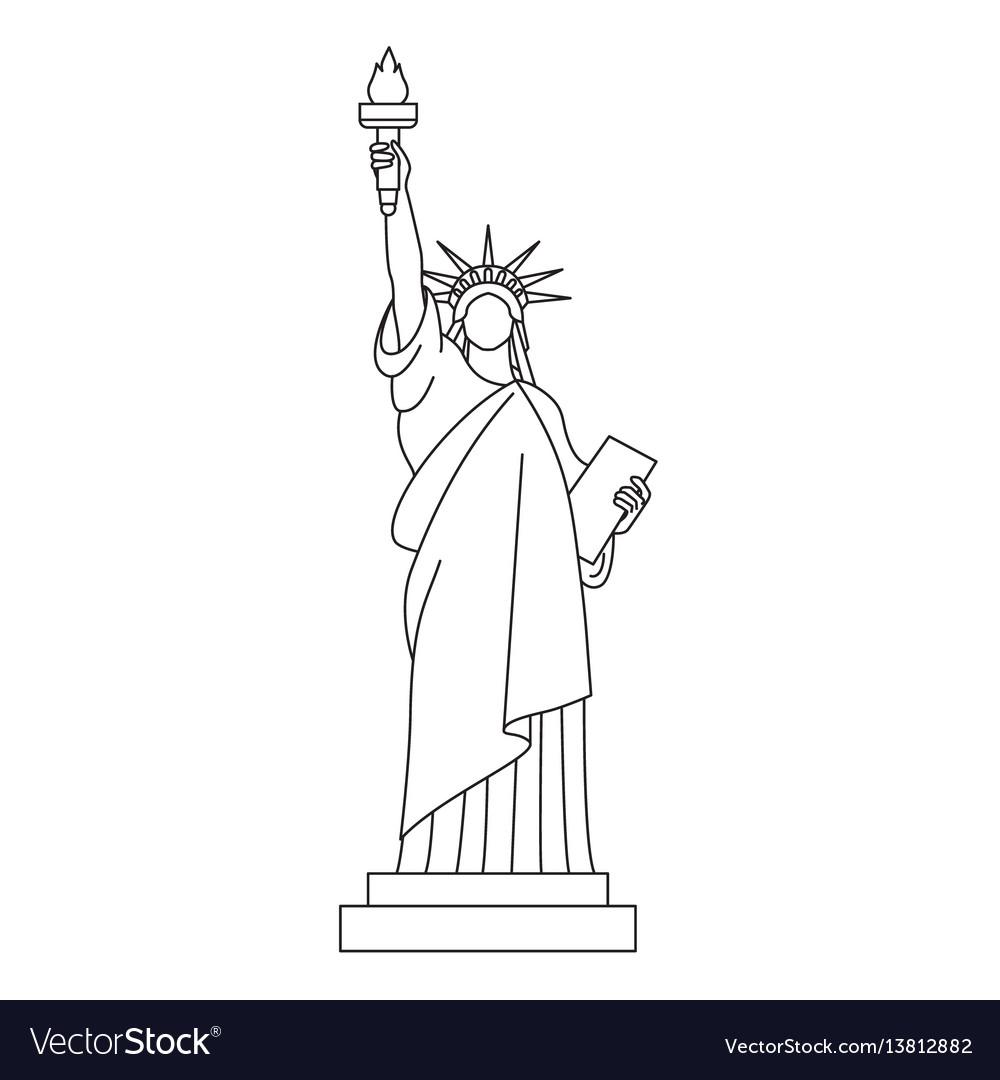 Statue of liberty line icon