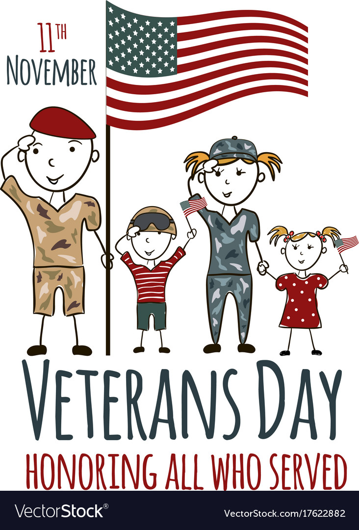 Veterans day greeting card with kids royalty free vector veterans day greeting card with kids vector image m4hsunfo