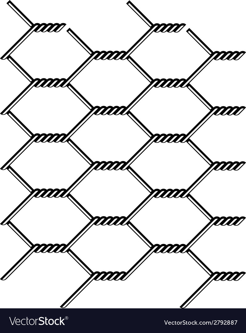 Chicken wire seamless black silhouette vector image