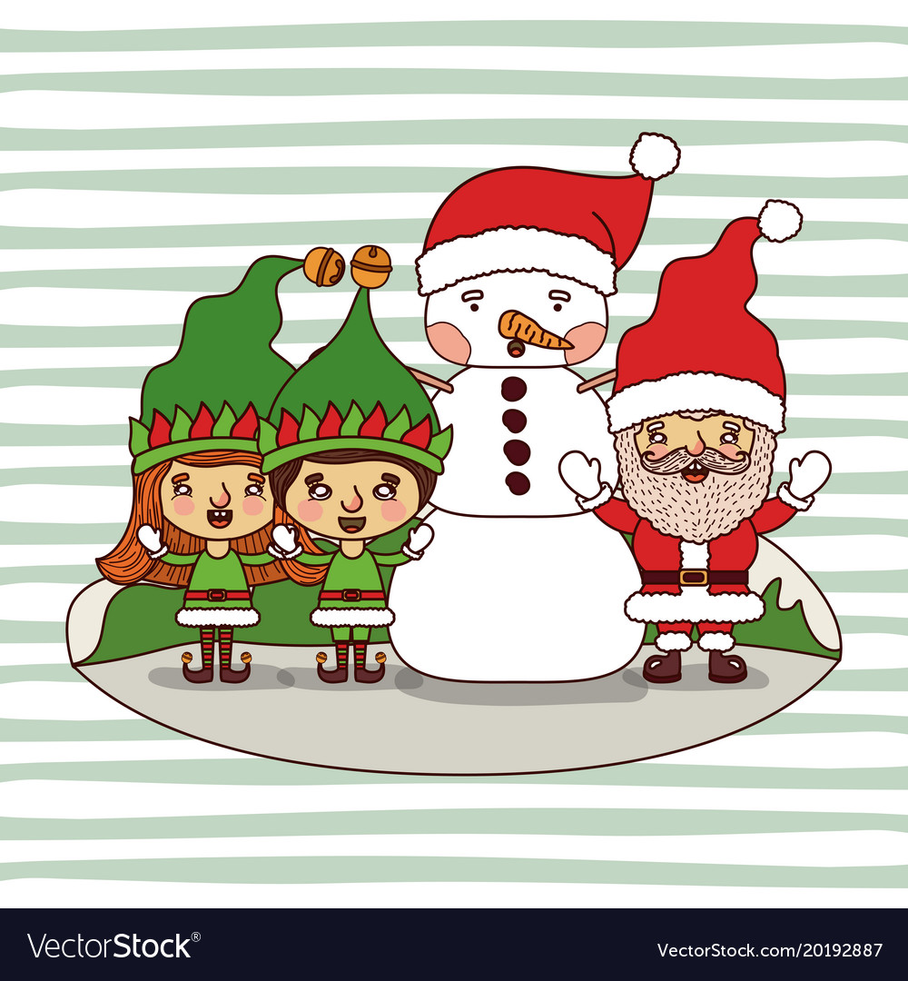 Christmas card with gnome kids and snowman and Vector Image